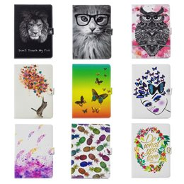 Discount wholesale printing ipad covers Flower Butterfly Leather For Apple iPad Mini 1 2 3 7.9inch,Ipad 2 3 4, 5 6 Air 2 9.7'' PU Lion Cat Owl Wallet
