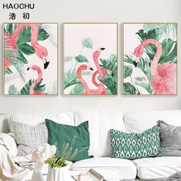 tropical paintings NZ - HAOCHU Nordic Watercolor Landscape Tropical Monstera Leave Plant Flamingo Animal Canvas Painting Wall Picture Living Room Decor