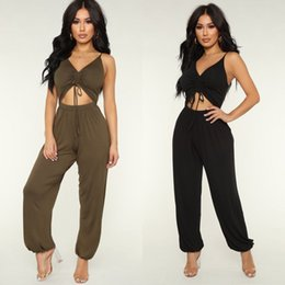 High Quality Jumpsuits Australia - Trendy Sexy Women Party Jumpsuit backless solid Romper Fitness Chiffon High quality V-neck sleeveless Solid Summer Trousers