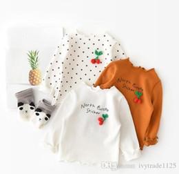 Tops Girl Shirt Design Australia - girl kids clothing shirt 100% cotton cherry brooch round collar long sleeve design girl t shirt spring fall comfortable top t shirt