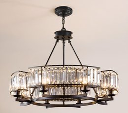 French iron chandeliers online shopping - American Retro Industrial RH Loft Led Chandelier Lustre Crystal Pendant Chandelier French Style Living Room Chandelier Lighting LLFA