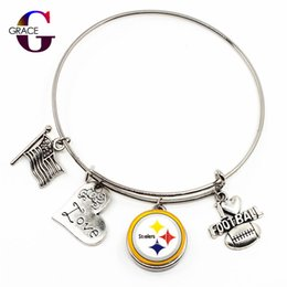 Discount football christmas gifts - 10pcs lot Fashion Heart Love Charms With Football Sports Team Glass Snap Buttons DIY Adjustable Expandable Bangle Bracel