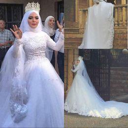 $enCountryForm.capitalKeyWord NZ - Beautiful High Neck Mulsim Wedding Dresses Said Mhamad Lace Appliques Beads Tulle Ball African Vestido de novia Bridal Gown Plus Size Arabic