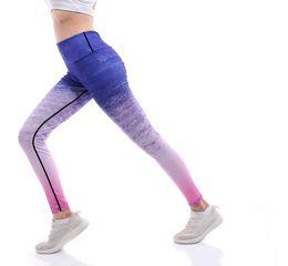 $enCountryForm.capitalKeyWord UK - Women Yoga Pants casual fitness leggings print stripe gradient colored Harajuku High Waist workout push up plus size sports pants