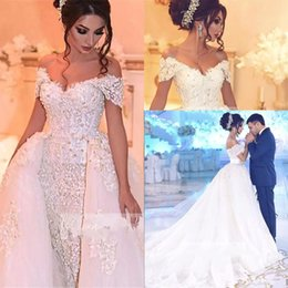 Wholesale 2018 New Gorgeous Off the Shoulder Lace Wedding Dresses Crystals Beaded Bridal Gowns Lace Appliques Tulle Overskirts Wedding Dresses BA7746