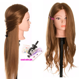 Curl blonde human hair online shopping - Beauty Mannequin Dolls Real Human Hair Training head dolls for hairdressers blonde color professional styling head can be curled
