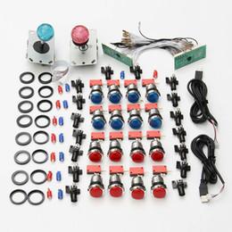 Venta al por mayor de Arcade Kits DIY Control USB a PC Joystick LED 5V LED 2 jugadores Botones pulsadores iluminados 2 x Codificador de teclado con retraso cero