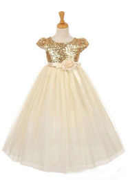 Hand Girl White Rose NZ - 2018 Cheap Rose Gold Sequins Girls Pageant Dresses With Handmade Flowers Sash Princess Party Gown Flower Girls Dress
