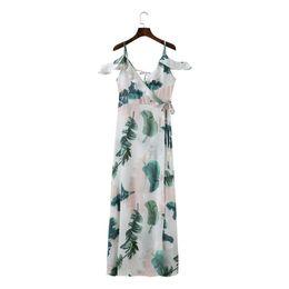 d62c8293a429 Sishot 2018 Side vent female beach maxi dress Plant printed deep V sexy  Empire Dresses Prairie Chic Floral vestido Girls Dress