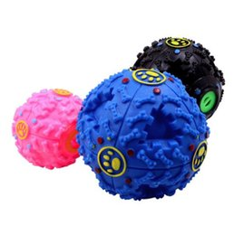 Wholesale 3 Colors Dog Toys Pet Puppy Sound ball leakage Food Ball Pet Dog Cat Squeaky Chews Puppy Squeaker Sound Pet Supplies Play
