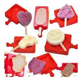Cartoon Wholesale Ice Cream Australia - Silicone Creative Homemade Ice cream Popsicle Mold Cartoon DIY Ice Cream Cake Mold Popsicle Sticks Mould