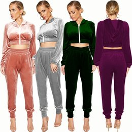 $enCountryForm.capitalKeyWord Canada - Spring Autumn Wear Velvet Women Sport Tracksuits Two Pieces Zipper Long Sleeves Hooded Short Coat and Long Pants Sets Sport Clothing 2018