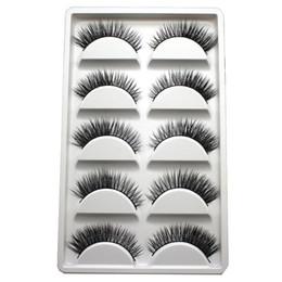 False Eyelash Boxes Canada - 5Pairs Box Handmade Real Mink Beauty Long Natural Makeup Thick Fake False Eyelashes Black Eye Lashes Extension Tools