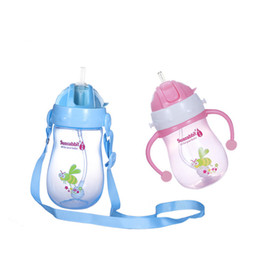 Wholesale Sunrabbit ml OZ portable wide mouth baby feeding bottle glass infant milk bottles with straw and handle training drinking bottle