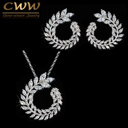 $enCountryForm.capitalKeyWord NZ - CWWZircons Fashion Women Costume Jewelry Sparkly Olive Branch Marquise Cut Cubic Zirconia Pendant Necklace And Earring Sets T087