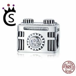 Real Camera Australia - Real 925 Sterling Silver Jewelry Sentimental Snapshots Camera Charm Fit Bracelet & Necklace Black Enamel DIY Jewelry