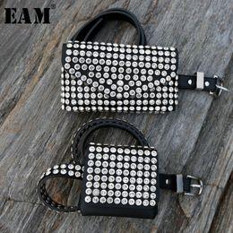 China [EAM]2018 New Autumn Winter Soid Color Black Pu Leather Diamonded Nailed Split Joint Mini-bag Long Belt Women Fashion Tide JK077 cheap mini nails suppliers