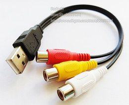 audio cords NZ - USB 2.0 A Male to 3 RCA Female Audio Video AV Adapter Cord Cable 25CM Free Shipping 2PCS