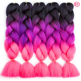 wholesale jumbo braiding hair 2019 - Ombre Braids Synthetic Hair 24Inch 100g Pack Synthetic Jumbo Braids hair Ombre Crochet Braiding Hair Extensions African