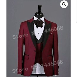 Single Piece Dress Designs NZ - (Jacket+Vest+Pants) 2018 Fashion Design Wedding Party Dress Men Slim Fit Burgundy 3 Pieces Men Suits For Wedding Groom Tuxedo