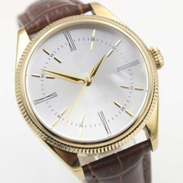 Case k online shopping - New Arrival Male Wristwatch Time K Gold White Dial Automatic Mechanical Watch Round Case Brown Leather Strap Band Perpetual Mens Watches