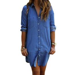 da1a1d2c70 2018 Women Casual Denim Dresses Pockets Elegant Cowboy Fashion Women Lady  Feminino Slim Shirt Dress Jeans
