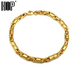 $enCountryForm.capitalKeyWord Australia - HIP Hop 6mm 23CM Titanium Stainless Steel Round Byzantine Chain Bracelets For Men Rock Jewelry Gold Silver Black Color