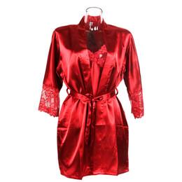$enCountryForm.capitalKeyWord NZ - Women Sexy Faux Silk Satin Pajamas Sleepwear Soft Nightdress Set Gown Robe Long Sleeved Black Red Color