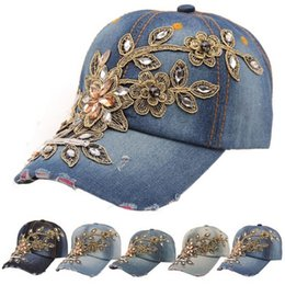 $enCountryForm.capitalKeyWord Canada - 2016 Full Crystal Rhinestone Floral Denim Baseball Cap Bling hip hop Adjustable Snapback Hat for women Wholesale