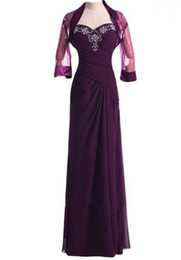 $enCountryForm.capitalKeyWord Australia - Hot Sell Sweep Train Chiffon Grape Mother Of the Bride Dresses Sweetheart with Beaded with Jacket for Wedding Party