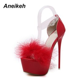 super high white shoes 2019 - Aneikeh Sexy High-heeled Sandals High-heel Wedding Party Platform Shoes For Woman 4 Colours Size 34-40 White Black Red P