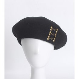 3ef893d505d 2018 Beret Hats for Women 100% Wool Autumn Winter Warm Hat Cap French Hat  Bone Black Beret Rivets Painter Beanie Solid Color