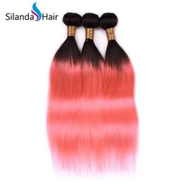 $enCountryForm.capitalKeyWord Australia - Silanda Hair Factory Price Two Tone #T 1B Pink Brazilian Remy Human Hair Bundles Straight Hair Weft For Sale 3 pcs per pack Free Shipping