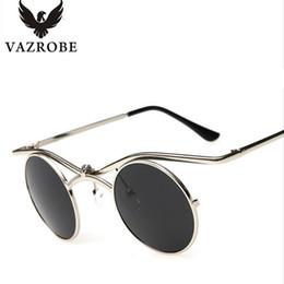 1c2a060b6a round steampunk goggles 2019 - Vazrobe Small Round Steampunk Sunglasses Men  Women Flip Up 80s Steam