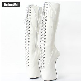 $enCountryForm.capitalKeyWord Australia - 2018 New Arrive 18CM High Heeled Ballet Boots Wedge Hoof Fetish Lace up Pony Knee-High Man Pinup Party Cosplay Pole Dancing Shoes