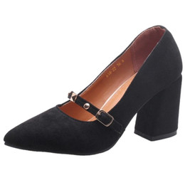 Toed Shoes For Women NZ - SJJH 2018 Woman Faux Suede Pumps with Pointed Toe and Chunky Heel Elegant Working Shoes for Fashion Women with Large Size Available A213
