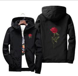 Windbreaker Orange NZ - 2018 Rose Jacket Windbreaker Men And Women's Jacket New Fashion White And Black Roses Outwear Coat