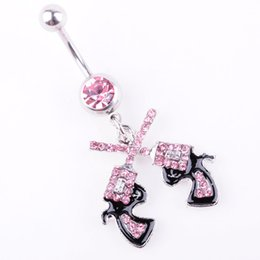 Double belly rings online shopping - D0043 colors Newest The double guns style pink navel belly ring clear color stone drop shipping piercing body jewelry