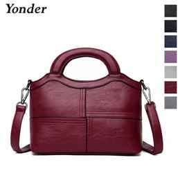 Yonder new fashion genuine leather handbag female shoulder bag casual  Sheepskin leather tote bag ladies messenger bags Black Red 52f57ba72d2bd