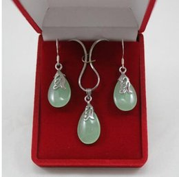 light green jewelry sets NZ - Free Shipping lady's light green pendant & earrings jewelry sets for party