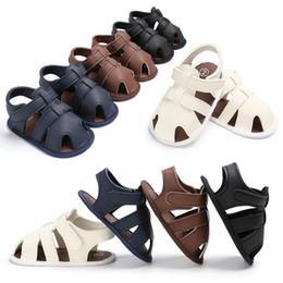 Sandals For Infant Boys Australia - For 0-18 Month Baby Boys Sandals PU Leather Infant Shoes Newborn Crib Shoes for Summer Closed-toe Anti-slip Bottom