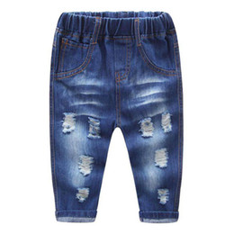 China 2017 Spring Autumn Baby Boys Girls Jeans Kids Broken Cool Washing Denim Pants Girls All Match Pants Children Clothes supplier baby girl cool clothes suppliers