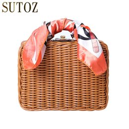 Ladies Scarf Handbags Canada - Retro Straw Bag Women Bags Handbags for Ladies Beach Bags Scarves Clutch Top-Handle Handbag Picnic Box Beach Rattan Bag BA214