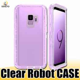 Phone clear full case online shopping - Clear Robot Phone Case in Defender Full Covered Transparent Back Cover Cases for Samsung S10e S10 Plus NOTE S9 izeso