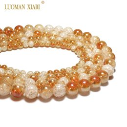 snow white crystal NZ - Wholesale One Side Plated Orange White Snow Cracked Crystal Natural Stone For Jewelry Making DIY Bracelet Necklace 6-12mm
