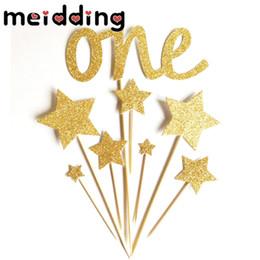 "$enCountryForm.capitalKeyWord Australia - MEIDDING 8Pcs lot Shiny Gold ""One"" Birthday Party Cupcake Topper For Kids Birthday Party Baby Shower Supplies Cake Decorative"