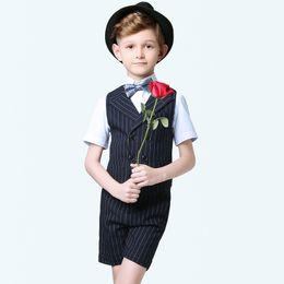 Kids modelling short clothes online shopping - Handsome Kids Vest Sets Double Breasted Vest Short Pant Set Black Pinstripe Boys Weddibg Clothing Suit Sets For Important Occassion