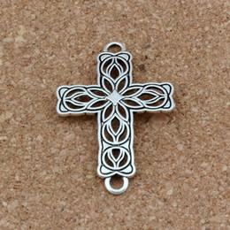 $enCountryForm.capitalKeyWord Australia - Hot ! 50pcs   lots Antique Silver Hollow Flower Cross 3mm Hole Connectors Fit Hand-woven bracelets Jewelry DIY 27.2x42x1.5mm F-3