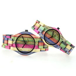 $enCountryForm.capitalKeyWord UK - BEWELL natural Bamboo Wooden Watch Men Women Wristwatch Colorful Bangle Analog Watches christmas gift