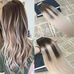 Dip Dye brazilian hair online shopping - Omber Tape in Hair Extensions Fading to Dip Dyed Glue in Remy Human Hair Extensions Balayage Tape on Extensions g